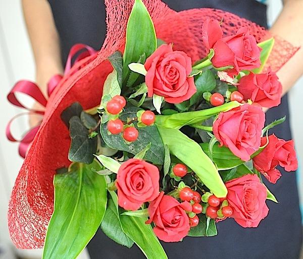真っ赤なバラの花束 NO1